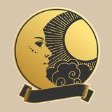 Moon and Sun in round frame. Vector illustration in retro style. Vector template for tattoo, sticker design. Gold and black drawing Royalty Free Stock Images