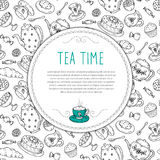 Vector template with tea sketch doodle hand drawn elements. Royalty Free Stock Photography