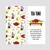 Vector template with teapot, french press, cup, lemon, tea leaf. Cover design for print - flat illustration.  Stock Photos