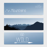 Vector template of three headers with sky and mountains. Blurred background Stock Photography