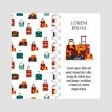 Vector template travel bags isolated on white background. Cover for print with business voyage packing, handle trip Stock Images