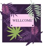 Vector template with tropical leaves. Leaves palm tree illustration. Modern graphics. Royalty Free Stock Images