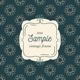 Vector template of vintage card for greeting card. Wedding invitation or menu. Pattern background Stock Photography