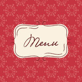 Vector template of vintage menu. Seamless background with hand drawn frame in red colors. Royalty Free Stock Images