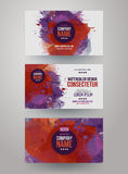 Vector template watercolor business cards vector illustration