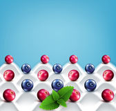 Vector  template:  wave yogurt with berries (cranberries, bluebe. Wave yogurt with berries (cranberries, blueberries) and mint leaves on a blue background Stock Image