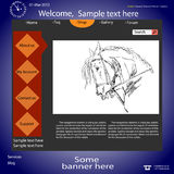 Vector template web site about  horses. Royalty Free Stock Photos