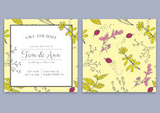 Vector template of wedding invitation card with herbs. Save the date. Botanical style. Invite wedding. Wedding background. Wedding invite poster Stock Images