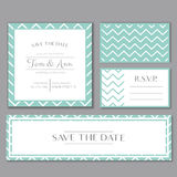 Vector template for wedding invitation card with stripes. Save the date and RSVP. Tender mint and grey colors. Stock Photography