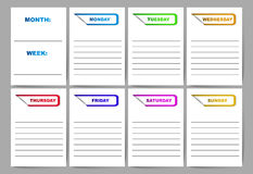 Vector template week plan diary Royalty Free Stock Photo