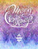 Vector template xmas poster. Lettering Merry Christmas. Abstract geometrical textured colorful background Stock Photos