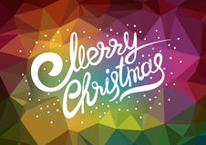 Vector template xmas poster. Lettering Merry Christmas. Abstract low poly colorful background Stock Images