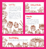 Vector templates for bakery shop cakes dessers. Bakery shop desserts and pastry sweets vector posters or banners set with confectionery candies and chocolate Stock Photography