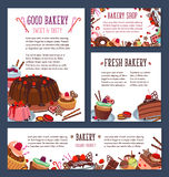 Vector templates for bakery shop cakes dessers Stock Photos