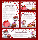 Vector templates for bakery shop cakes desserts. Pastry baked desserts banners or posters templates for bakery shop or patisserie cafe. Vector design of Royalty Free Stock Photo