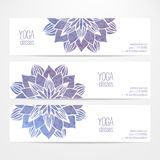 Vector templates of banners with watercolor blue flower mandala Royalty Free Stock Photography