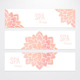 Vector templates of banners with watercolor pink lotus flower mandala. A set of vector templates of business banners. Watercolor pink lotus flowers on a white Royalty Free Stock Photos