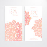 Vector templates of banners with watercolor pink lotus flower mandala. A set of vector templates of business banners. Watercolor pink lotus flowers on a white Stock Photography