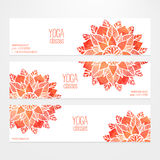 Vector templates of banners with watercolor red flower mandala Stock Photography