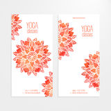 Vector templates of banners with watercolor red flower mandala Royalty Free Stock Image