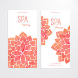 Vector templates of banners with watercolor red lotus flower mandala Stock Photos