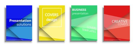 Vector templates for covers, vector covers design. Minimal vector covers illustration set isolated over white background. Geometric patterns backgrounds for Stock Image