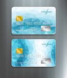 Vector templates credit cards with blue abstract pattern Stock Images