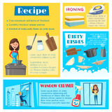 Vector templates for housework cleaning washing Stock Images