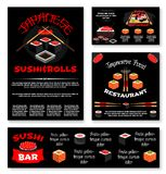 Vector templates for Japanese sushi restaurant. Sushi bar or Japanese restaurant banners and posters templates set. Vector menu of sushi rolls, tuna or salmon Stock Images