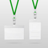 Vector templates for name tag with green lanyards Stock Photos