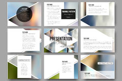 Vector templates for presentation slides. Abstract multicolored background of blurred nature landscapes, geometric Royalty Free Stock Photography