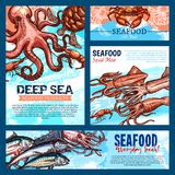 Vector templates for seafood or fish food products. Seafood and fish food products banners or posters templates. Vector design of fresh fishing catch octopus Stock Photo