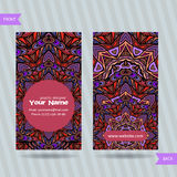 Vector  templates set of business card with doodles colorful ornament Royalty Free Stock Image