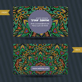 Vector  templates set of business card with doodles colorful ornament Stock Photo