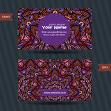 Vector  templates set of business card with doodles colorful ornament Royalty Free Stock Images