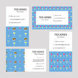 Vector templates of Ted Jones - Party planner visiting cards. On white background Stock Image
