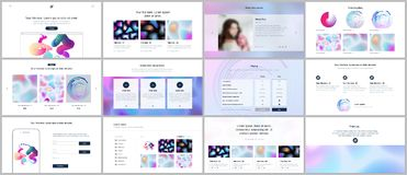 Vector templates for website design, minimal presentations, portfolio with geometric patterns, gradient, fluid shapes. UI, UX, GUI. Vector templates for website Royalty Free Stock Images