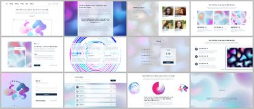 Vector templates for website design, minimal presentations, portfolio with geometric patterns, gradient, fluid shapes. UI, UX, GUI. Vector templates for website Stock Photos