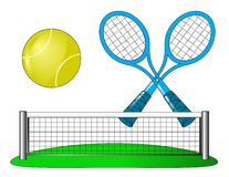 Vector tennis attributes on white Stock Photos