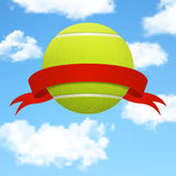 Vector tennis ball with red ribbon over sky background Royalty Free Stock Photos