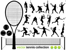 Vector tennis collection. Tennis Players Silhouettes - Vector tennis collection.  (High Detail!) Check out my portfolio for other silhouettes. Enjoy Stock Image