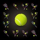 Vector tennis symbols as design elements, tennis balls, tennis r Royalty Free Stock Photo