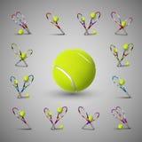 Vector tennis symbols as design elements, tennis balls, tennis r Stock Images
