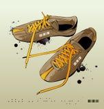 Vector tennisschoenen, gymnastiek-schoenen Royalty-vrije Stock Fotografie