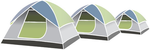 Vector tents. Vector image of three tents Stock Photography