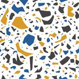 Vector terrazzo seamless pattern, mural background with chaotic stains. stock illustration