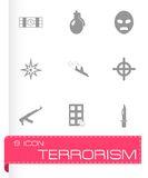 Vector terrorism icons set. White background Royalty Free Stock Photos