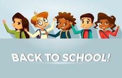 Vector terug naar de affichemalplaatje van schooljonge geitjes stock illustratie