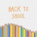 Vector terug naar de samenstelling van het schoolkleurpotlood Vierkante decoratieve bann Stock Afbeelding