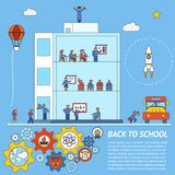Vector terug naar het Malplaatje van Schoolinfographic Stock Foto's